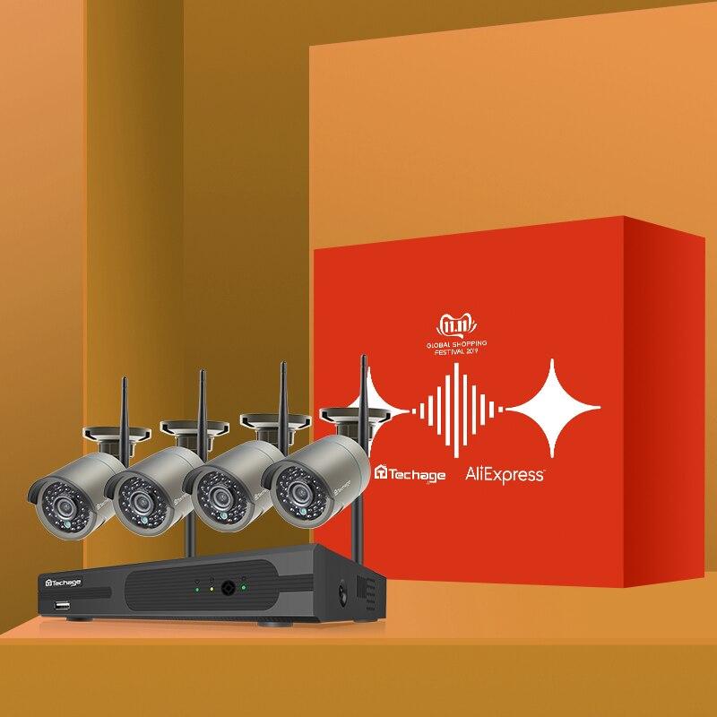 Techage H.265 8CH 1080P inalámbrico NVR CCTV sistema de seguridad 2MP IR-CUT grabación de Audio al aire libre Wifi Cámara P2P Video vigilancia Kit