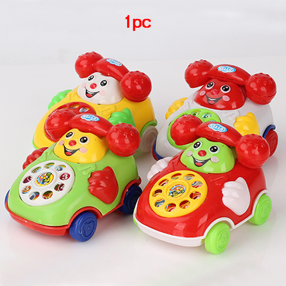 New Arrival Baby Smile Face Telephone Toys Plastic Colorful Kids Learning Fun Music Telephone Toys Classic Chatter Phone Car 1