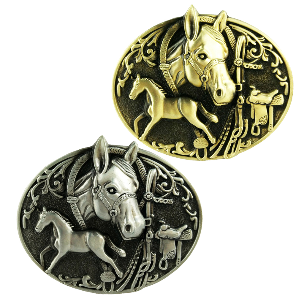 Double Horse Carving Belt Buckle Mens Metal Western Cowboy Leather Belt Jewelry Hot Sale Western Bull Ox Men's Belt Buckle