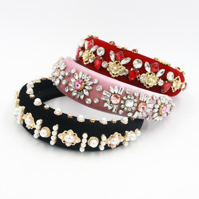 Beautiful Exaggerated Padded Baroque Headband Sprkly Rhinestone Pearl Hairbands Personality Party Show Head Crown Women Headwear