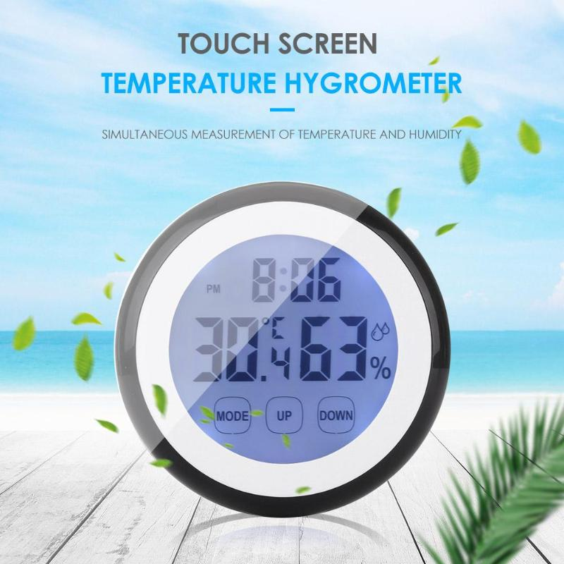 Indoor Round Digital Thermometer Hygrometer Touch Screen New and High Quality Fashionable Atmosphere Temperature Humidity