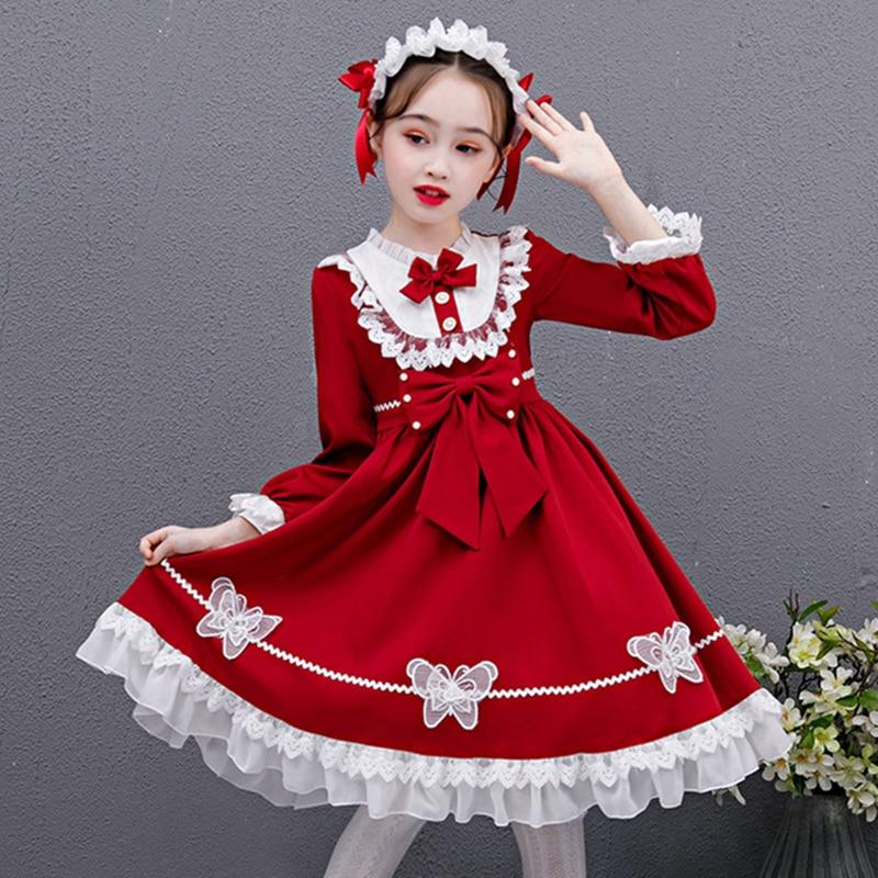 Lolita girls long-sleeved princess dress Japanese baby clothing lolita dress cute puff sleeve loli dress western style dress