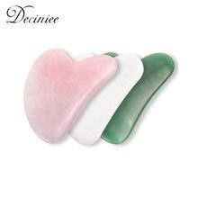 3 renk yüz masajı gül doğal yeşim Gua sha taş masajı kuvars Guasha kazıma kurulu yeşil yeşim yüz boyun vücut aracı