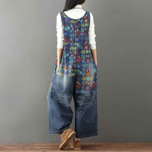 Image 4 - Helisopus Hot Vintage Printed Holes Ripped Jean Jumpsuit Plus Size Wide Legs Bib Overalls For Women Drop Crotch Denim Rompers