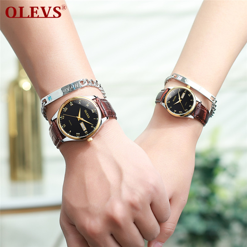 OLEVS Couple Watch Fashion Simple Watch Luxury Fine SteelQuartz Couple Watch Digital Scale Date Light Watch Couple Gift Watch