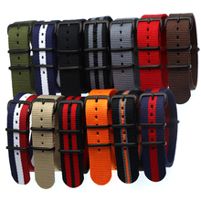 18 20 22 24mm Brand Sport Army nato fabric Nylon strap accessories Bands Belt Buckle For 007 James binding Bracelet Watch black