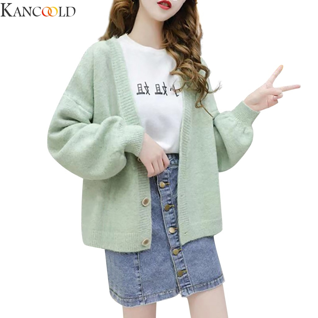 KANCOOLD Women Knitted Swearts Sexy Button 4 Colors Winter Fashion Long Sleeves Pullovers V Neck  Loose Streetwear