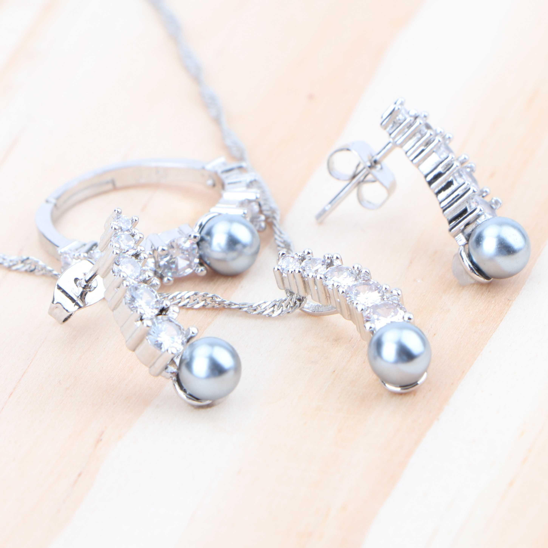 חתונה יוקרה כלה תכשיטי סטי פנינת שרשרת חרישת סט קריסטל Zirconia 925 כסף סטרלינג חתונה תליון טבעת תכשיטים