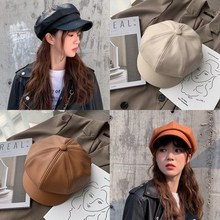 Women Leather Beret with Brim Octagonal Beret Cap Hat Gatsby Newsboy Peaked French Painter Hats Autumn and Winter Street Style