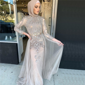 Image 2 - Serene Hill muzułmańskie kształtki na szyję luksusowe wysokiej klasy suknia wieczorowa 2020 szare długie rękawy formalna suknia wieczorowa z pociągiem CLA70305