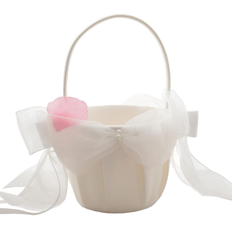Wedding Flower Girl Basket Bowknot Ribbon Bridal Basket for Wedding Ceremony Party Decoration - title=