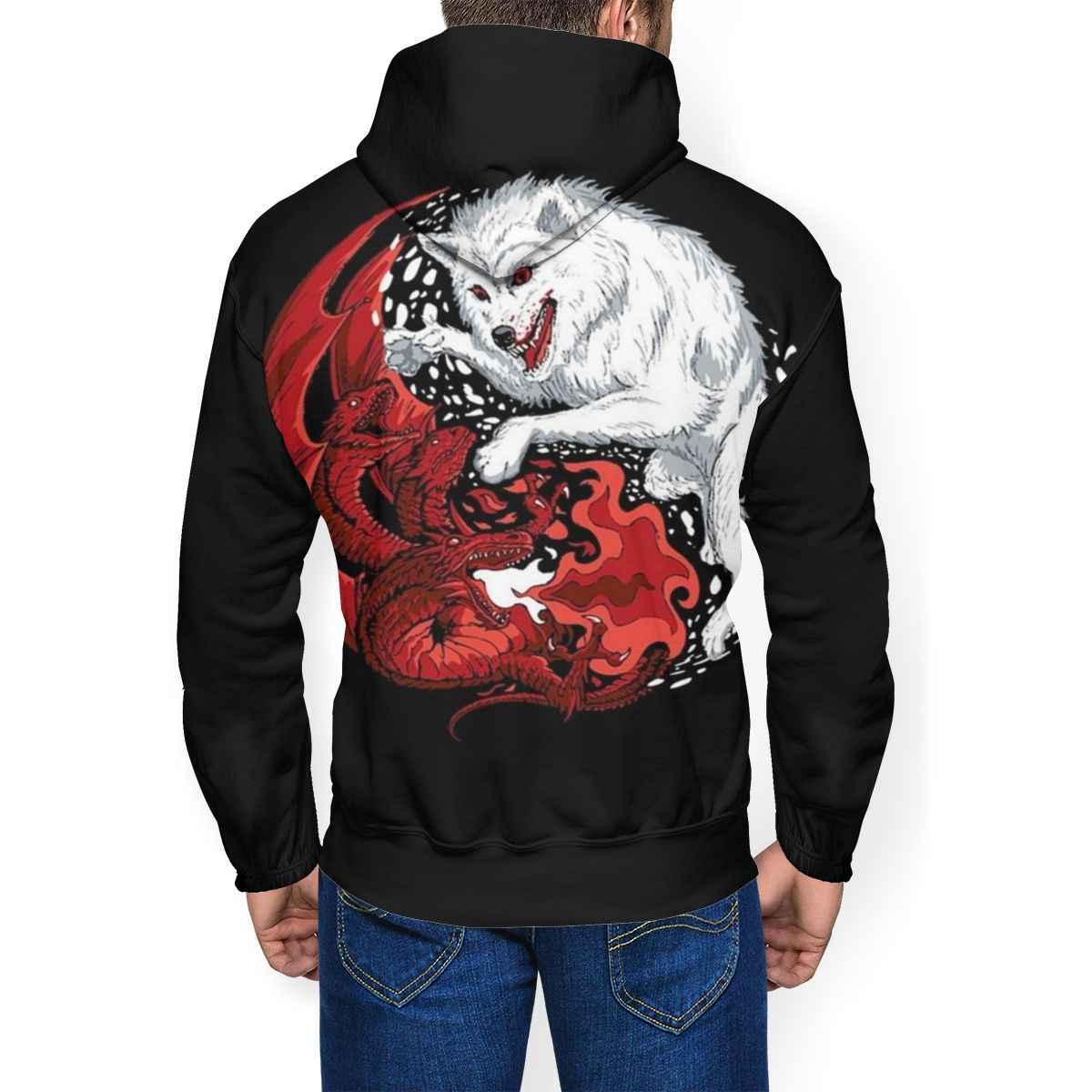 Толстовка «Игра престолов», толстовки с драконом и волком, синий уличная одежда, пуловер с капюшоном, повседневные зимние толстовки XL