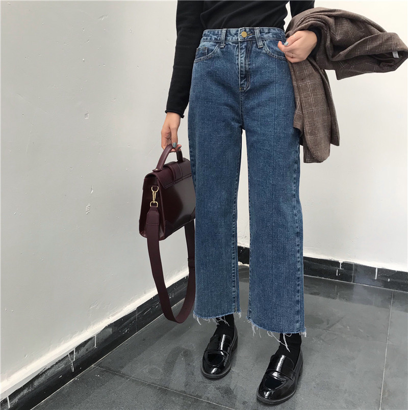 Summer Korean-style WOMEN'S Wear Loose-Fit Slimming High-waisted Cowboy Pants Loose Pants Students Straight-Cut Capri Pants