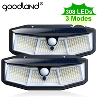 Goodland 308 LED lampada solare per esterni a luce solare alimentata a luce solare PIR sensore di movimento luci impermeabili per la decorazione del giardino