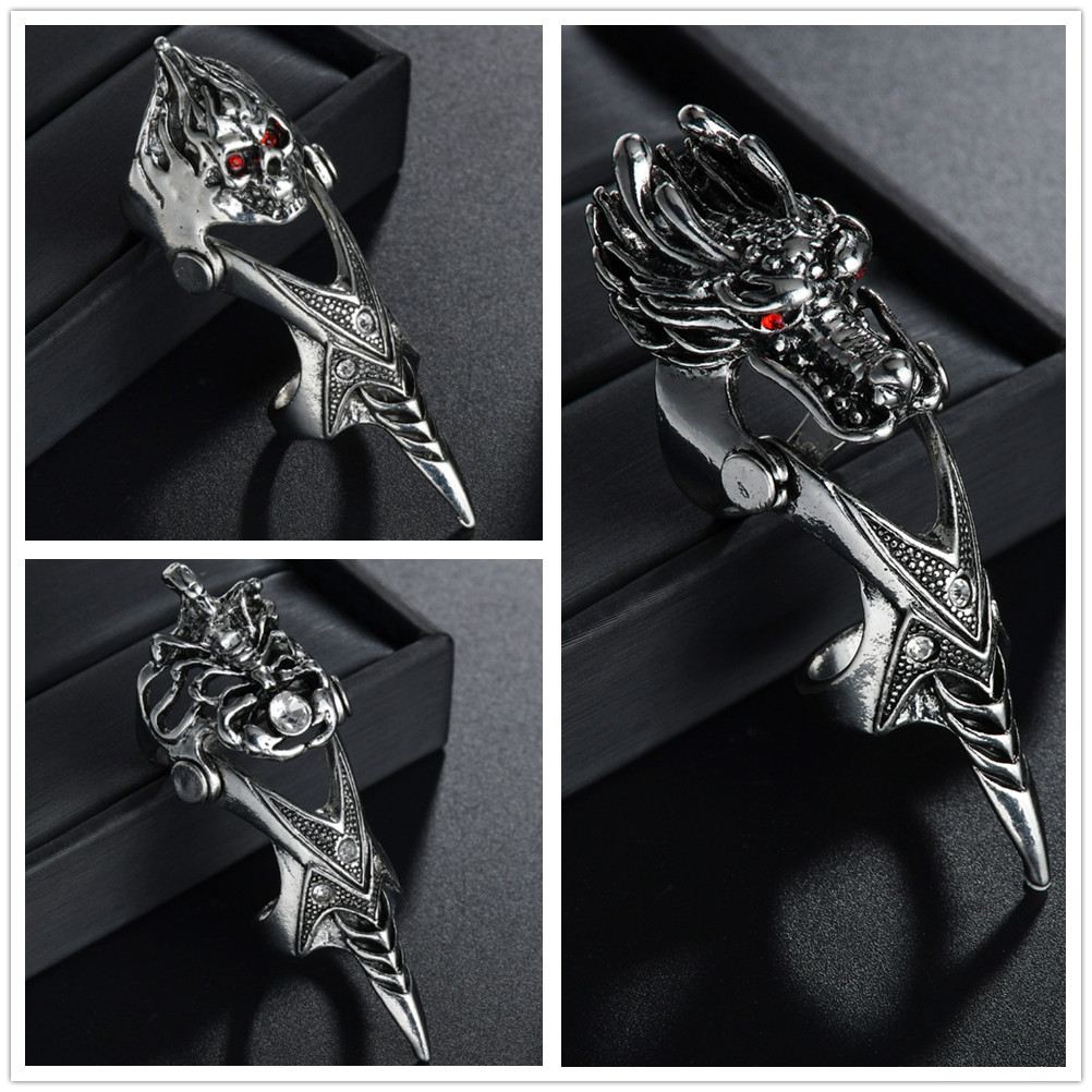 New Unisex Gothic Punk Dragon Skull Joint Knuckle Full Finger Claw Ring Statement Jewelry Party Club Charm Knuckle Rings Jewelry