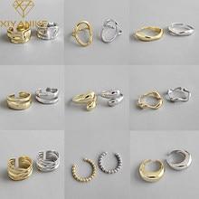 XIYANIKE 925 srebro złote otwarte pierścienie dla kobiet Hollow nieregularne geometryczne Birthday Party biżuteria prezenty akcesoria