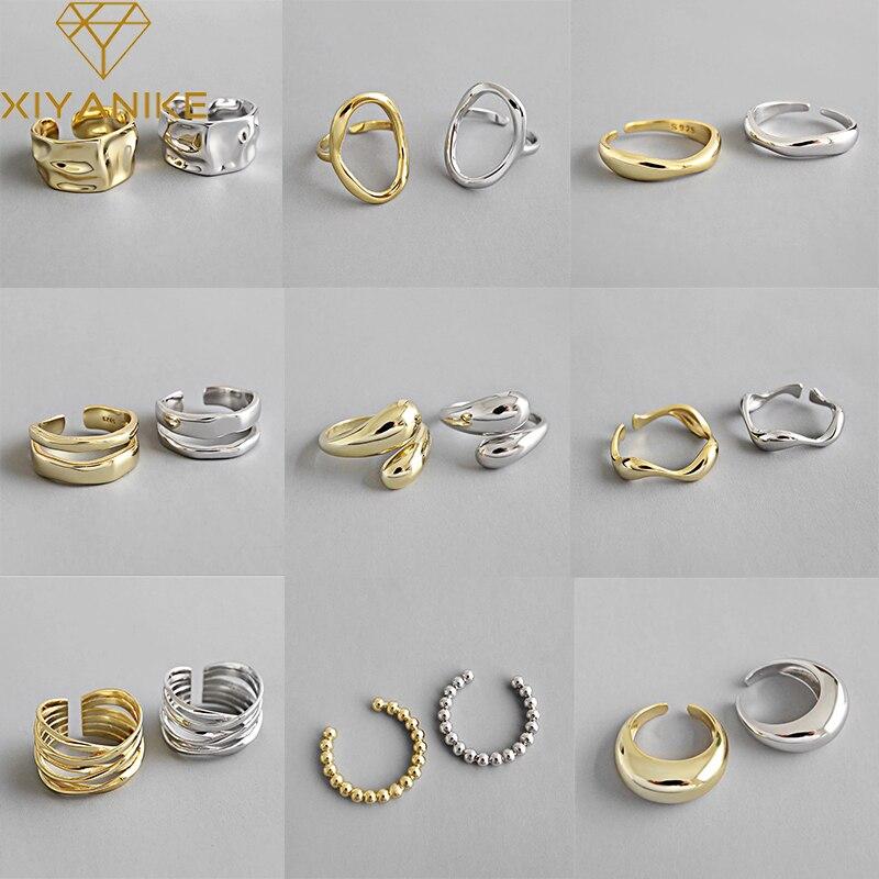 XIYANIKE de Plata de Ley 925 abierto de oro anillos para las mujeres Irregular calado geométrico de la fiesta de cumpleaños de accesorios, regalos, joyería