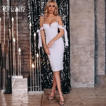 Bodycon Dress Party-Bandage Pearl VC Spaghetti-Strap Celebrity Vestidos Lace-Up-Design