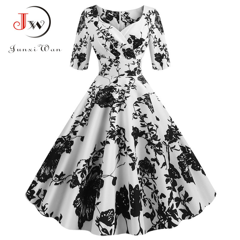 Women flower print Autumn dress Casual Winter half sleeve Elegant Vintage dress Robe femme plus size pinup office party vestidos 8