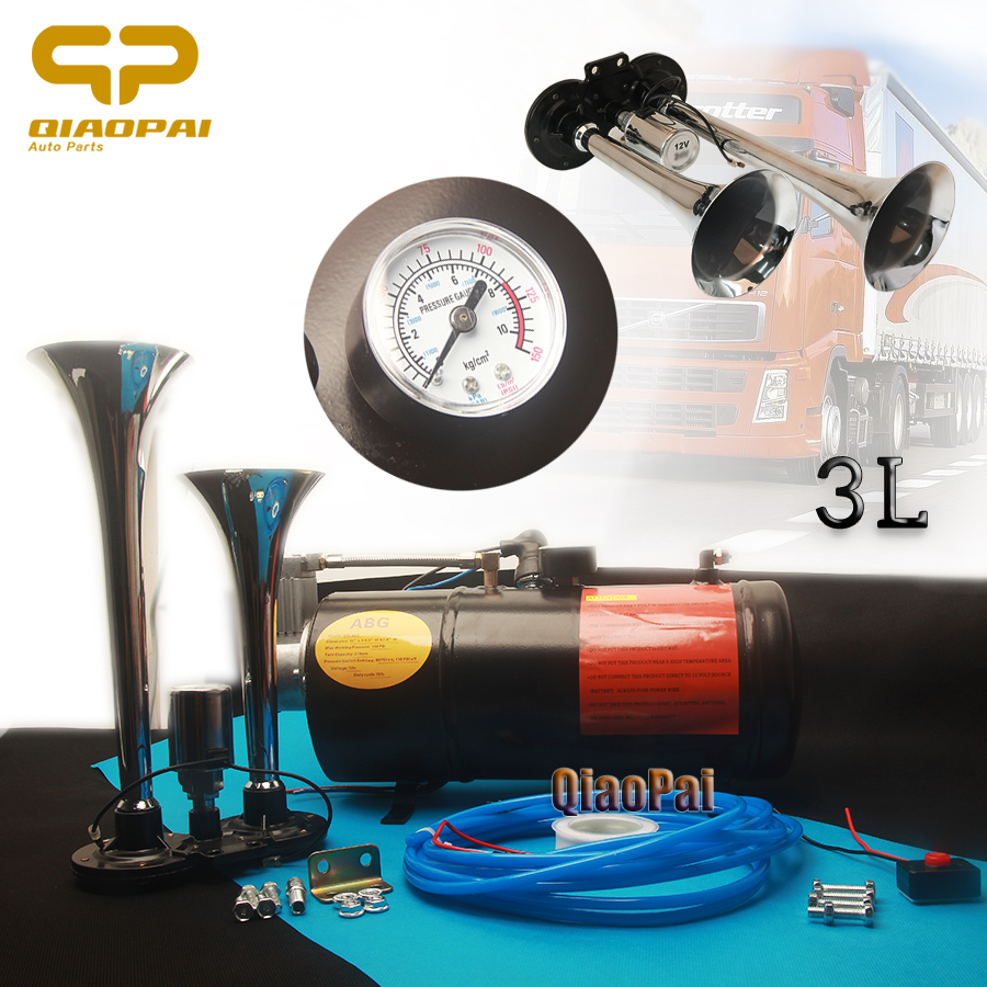 Dual Trumpet Air Horn Compressor 12V 2 Pipes Loud Electric Air Horn Kit 3L 150PSI Trumpets 150DB For Truck Vehicle Train Pickup