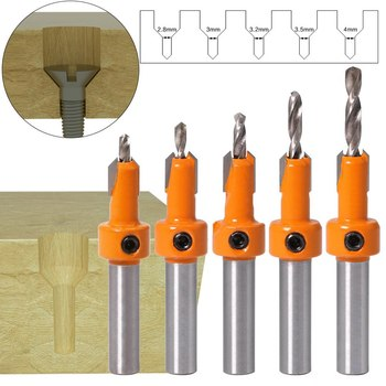 5pcs/set Countersink Drills Bits Woodworking Countersunk Drill Cone Counterbore for Hole Drilling Opening Tools of Set