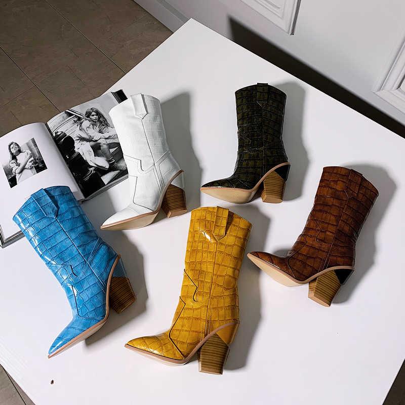 Kış Orta Buzağı Çizmeler Kadınlar için Tıknaz Yüksek Topuklu yarım çizmeler Sivri Burun Batı Kovboy Çizmeleri Kadın Sarı Beyaz Kahverengi mavi