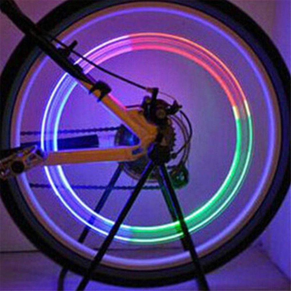 2Pcs Multicolor LED Tyre Wheel Valve Cap Light Flashing Bike Tire Spokes Lamp Neon Lights For Car Bicycle Motorcycle Waterproof