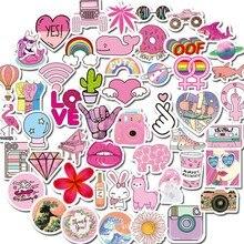 50 pçs rosa aleatório impermeável vsco adesivos pacote garrafa de água vinil portátil na moda dos desenhos animados bonito graffiti adesivo decalque remendos
