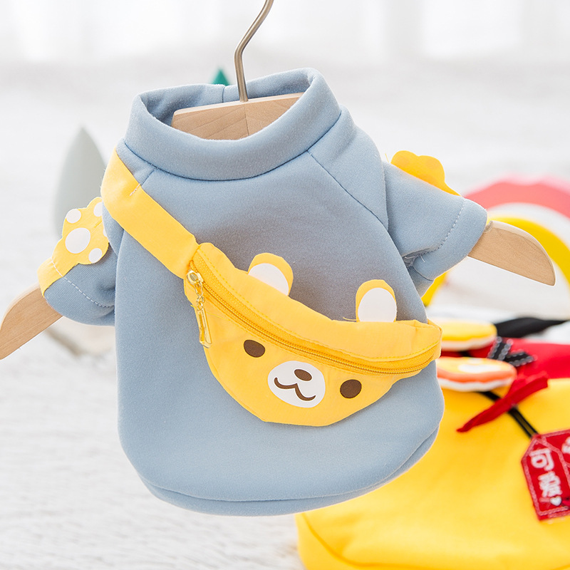 Cartoon Pet Dog Sport Leisure Sweater Coat Puppy Cat Cute Two-legged Pullover Clothes with bear Bag for Small Medium Dog Cat