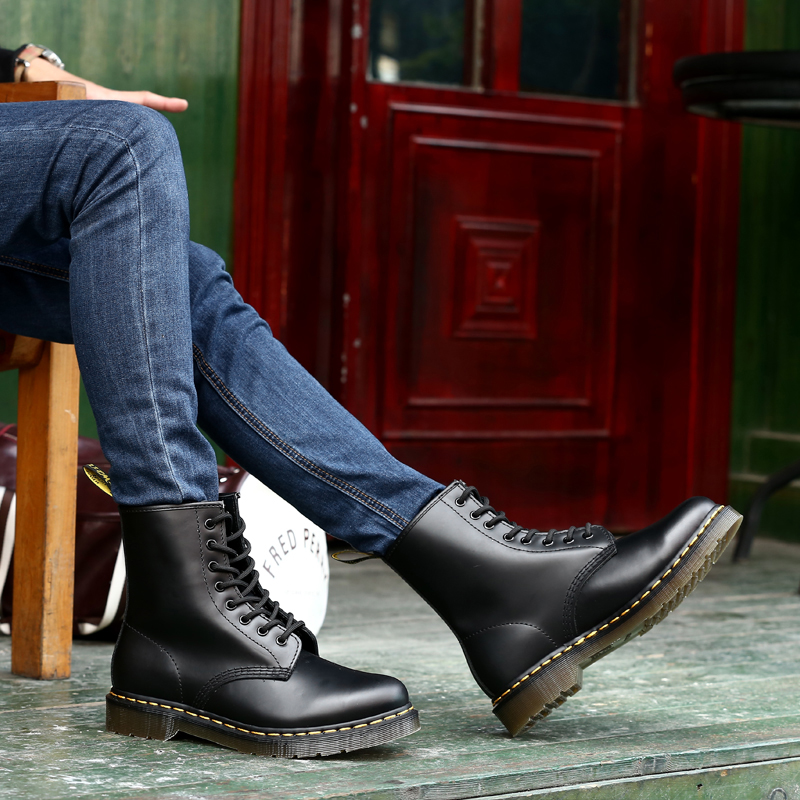 Genuine Leather Mens Martin Boot Fashion Winter Warm Shoes Couple Motorcycle Ankle Snow Boots Casual Coturno Botas Hombre