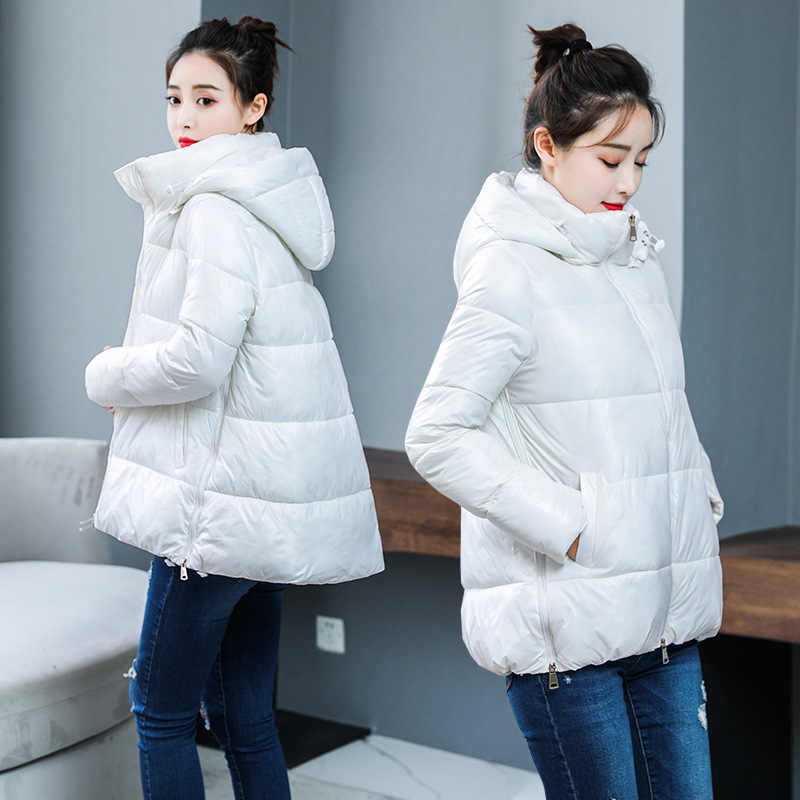 Winter jacket Down parka glossy women's long sleeve hooded women with thick cotton-padded clothes  jacket coat 1402