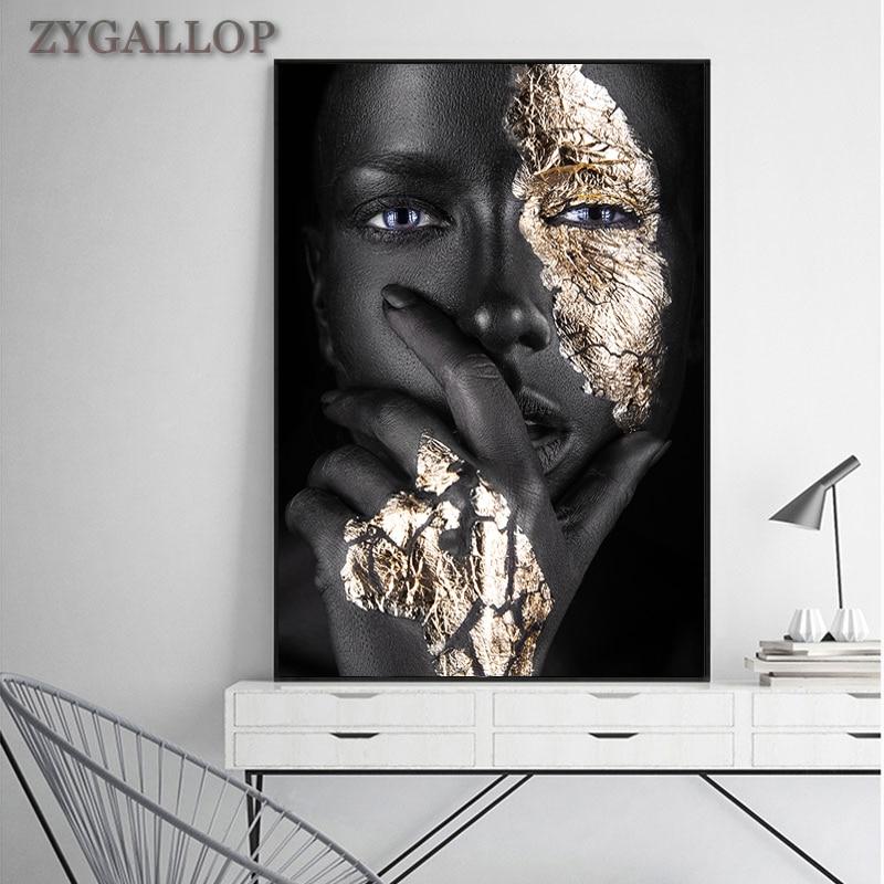 Altın ve siyah kadın tuval boyama afrika kadınlar posterler ve baskılar Cuadro Modern duvar sanatı resimleri için oturma odası dekorasyon