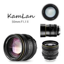 Kamlan lente de enfoque Manual de gran apertura para F1.1 F16, 50mm, APS C II, para cámaras NEX, para EOS M, FUji M4/3, 8 elementos en 6 grupos