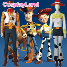 цена на Toy Story Jessie Cosplay Costume Halloween Party Costumes Cowgirl Suit Woody Cowboy Outfit with Boots Hat Shirt Custom Made