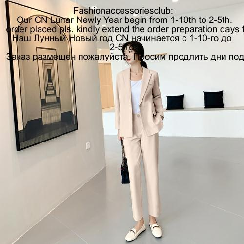 The New Spring And Autumn Korean Version Fashion Two Sets Slim With Fasten Belt Feminine Temperament Suit