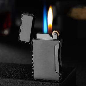 Two Flames Metal Lighter Torch Turbo Lighter gas Lighter Cigar Cigarette Lighters Smoking Accessories Gadgets For Men(China)