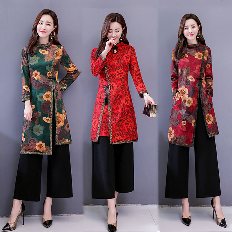 2019 Ao Dai Vietnam Improved Cheongsam Dress Women Traditional Clothing Floral Ao Dai Asian Dress Female Clothing Pieces Suit