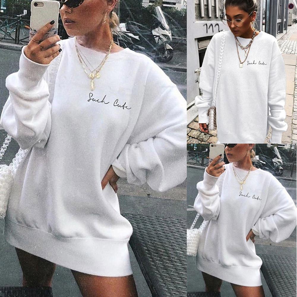Womens Letters SHCK CUK Print Long Sleeve Hoodie Sweatshirt Ladies Slouch Pullover Jumper Tops White Brand New 2019 Sweatshirt