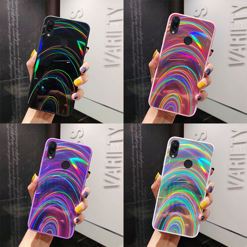 Gradient Rainbow Laser Phone <font><b>Case</b></font> For <font><b>Huawei</b></font> P30 Pro P20 Mate 20 lite <font><b>Y5</b></font> Y6 Y7 prime P Smart <font><b>2019</b></font> On Honor 8X 10i 20i 7C 8A Pro image