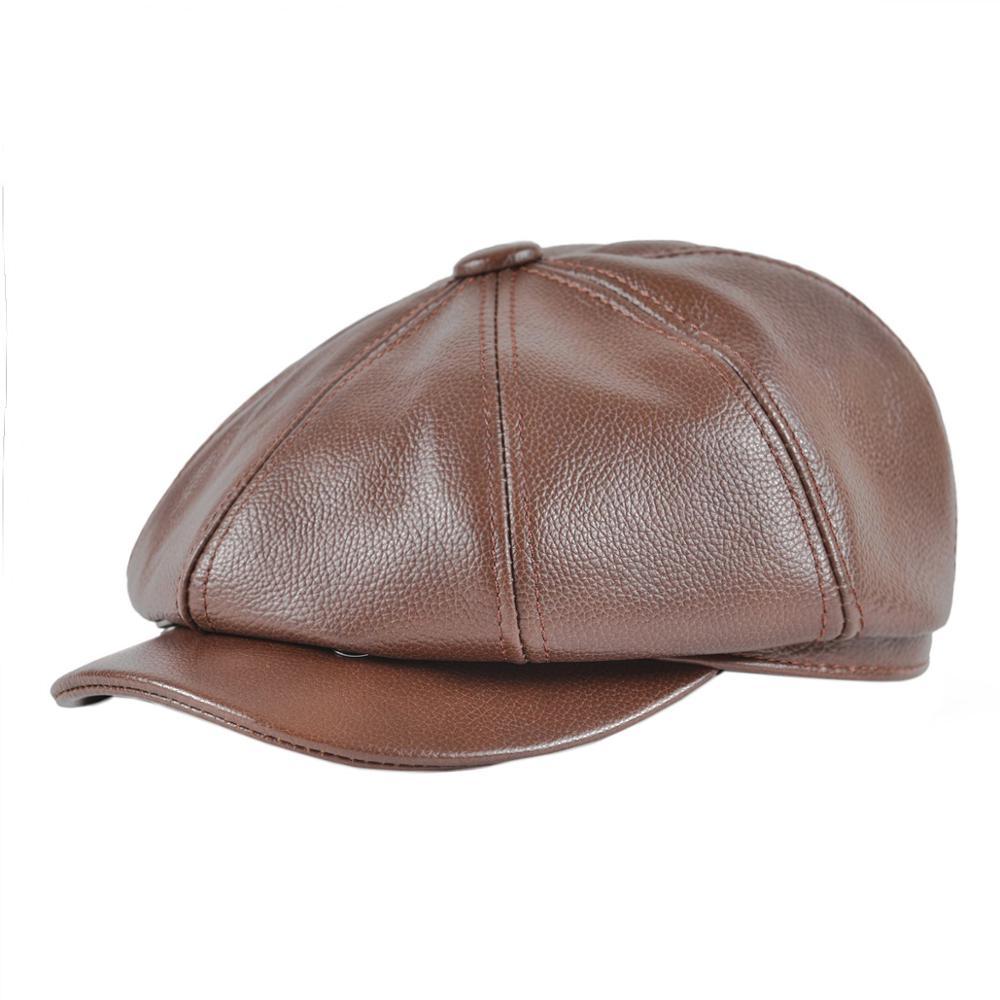 VOBOOM Genuine Leather Newsboy Cap Beret Men Women Caps Cabbies Driver Baker Boy Hat Brown 8 Panel Design Gatsby Flat Cap 115