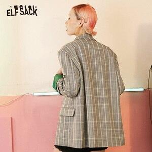 Image 2 - ELFSACK Vintage Plaid mujer Blazers, 2019 otoño nuevo solo Breasted mujer Casual abrigos moda suelta Oficina señora ropa