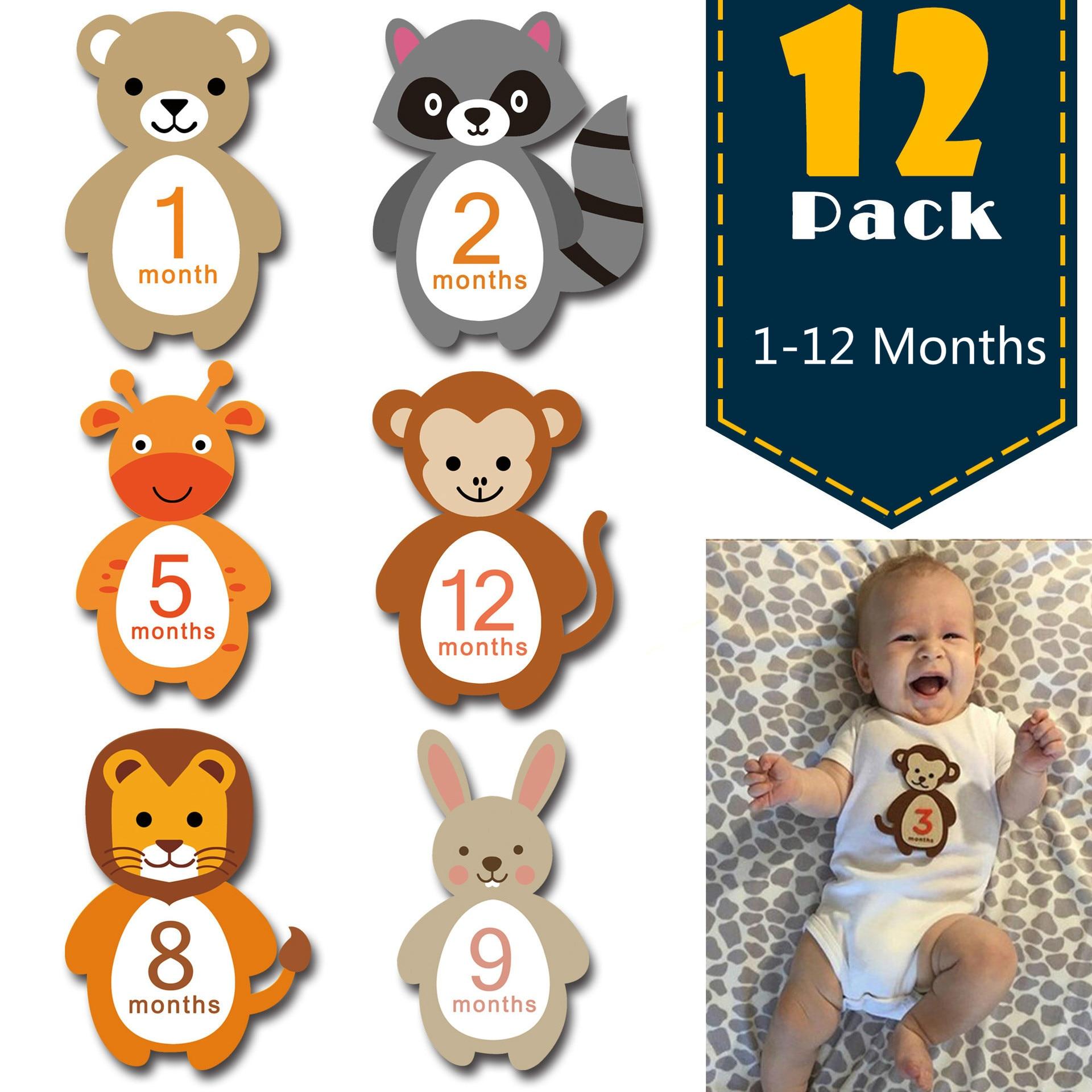 New 12Pcs/set Baby Month Stickers Newborn Milestone Stickers 1-12Months Cartoon Animal Flower Scrapbook Photo Album Photo Prop