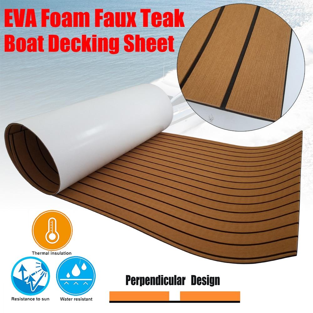 "EVA Foam Teak Decking Sheet 94.5""x35.4"" Brown Yacht Marine Carpet Flooring Mat Non Skid Self Adhesive Sea Deck Boat Accessories"