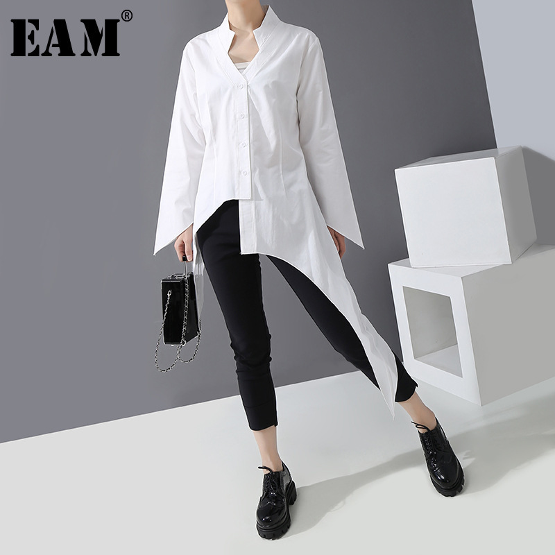 [EAM] Women White Asymmetrical Split Blouse New V-collar Long Sleeve Loose Fit Shirt Fashion Tide Spring Autumn 2020 1R304
