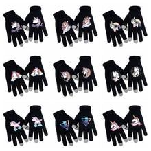 Осенне-зимние женские вязаные термоперчатки, вязаные плюс бархатные утолщенные перчатки с единорогом на открытом воздухе