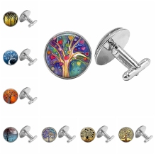 цены на 2019 New Hot Life Tree Glass Cabochon Fashion Trend Cufflinks, Color Life Tree Element Pattern Cufflinks Gift Essential  в интернет-магазинах