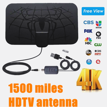Antena amplificada hdtv 4k digital DVB-T2 freeview isdb-tb canal local transmissão interior 1500 milhas