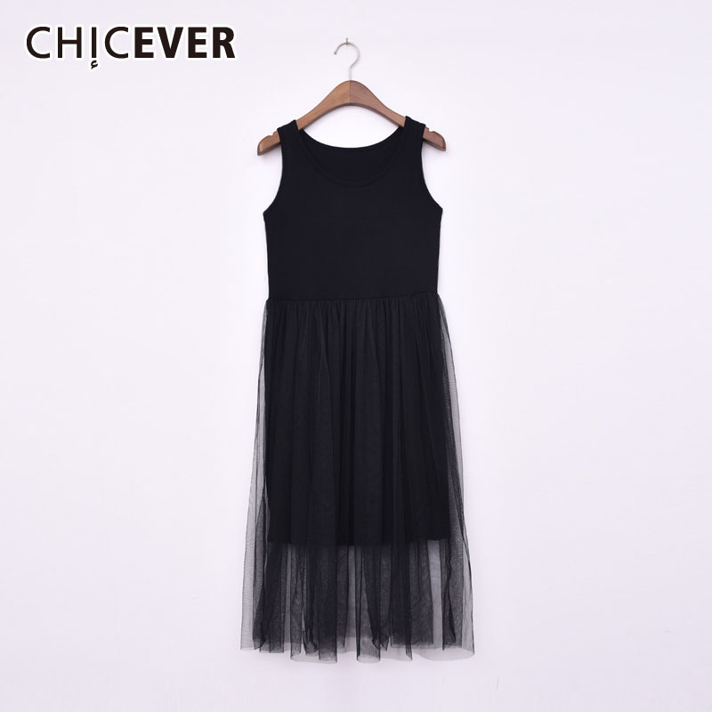 CHICEVER 2020 Spring Tank Sleeveless Mesh Dress Women Patchwork High Waist Oversize Loose O Neck Dresses Female Fashion Clothing