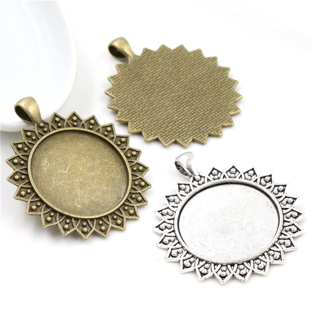 5pcs/lot 30mm Inner Size Antique Bronze And Silver Plated Colors Flower Fashion Cabochon Base Setting Charms Pendant