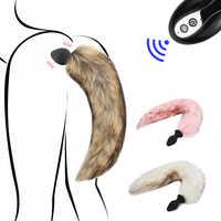 Tapón Anal de cola de zorro inalámbrico para adultos, 10 velocidades, vibrador Anal, estimulador Anal para parejas coquetean